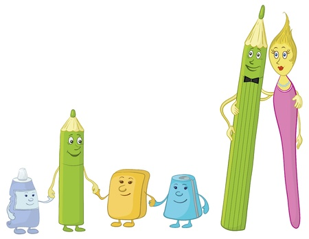 Cartoon, stationery family: pencils, brush, tube, eraser and pencil sharpener.  Vector