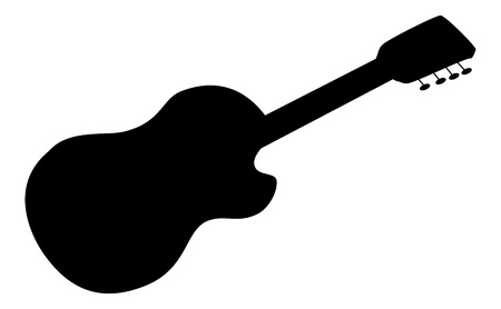 acoustic guitar: Musical instrument, acoustic guitar, black silhouette on white.
