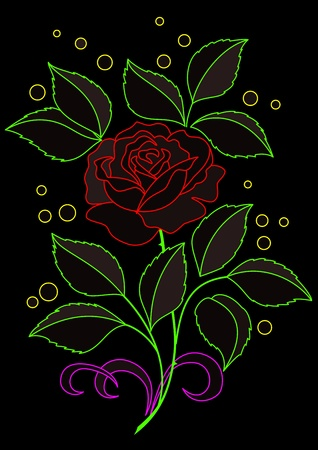 neon plant: Flower rose with leaves and confetti. Colored silhouettes on black background.