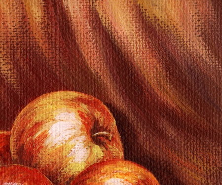 Picture, apples on the background of red cloth. Hand draw painting, oil paints on a canvas photo