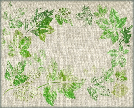 Abstract background, green painted leaves on a linen canvas Stock fotó