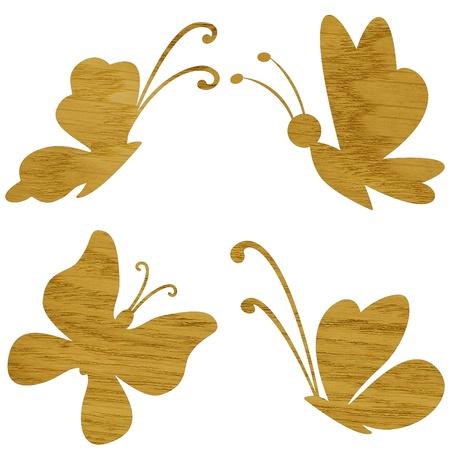 marqueteria: Marquetería, mariposa de ceniza chapa de madera aisladas sobre fondo blanco