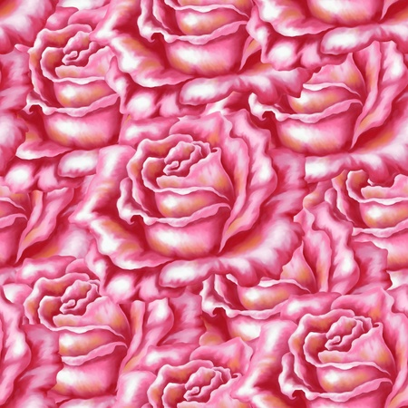 Seamless background, flowers rose, acrylic, hand-draw painting photo