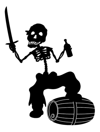 roger: Jolly Roger, pirate - zombie skeleton with a saber, a bottle of wine and a barrel, black silhouette on white background
