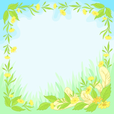 Abstract floral background  leaves, flowers and feathers on blue sky