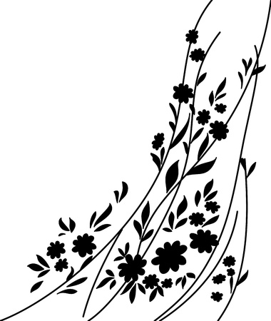 Abstract floral pattern  Black silhouettes on white background