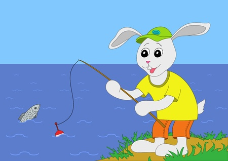 The cheerful hare in a cap fishes on a fishing tackle in the sea Vector