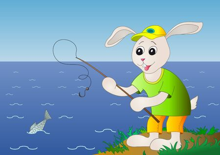 The hare fisherman fishes in the sea, but here a problem  fish Hare fishing, fish is left photo