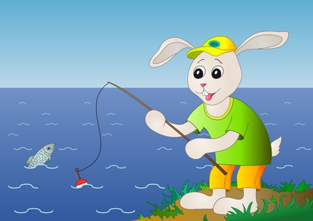 The cheerful hare in a cap fishes on a fishing tackle in the sea