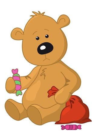Sad teddy bear sits with a sweet and Christmas bag Illustration