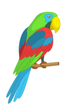 Clever speaking colored parrot sits on a wooden pole