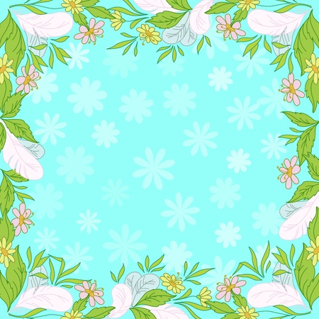 Abstract floral background  leaves, flowers and feathers on blue sky Stock Vector - 12467303