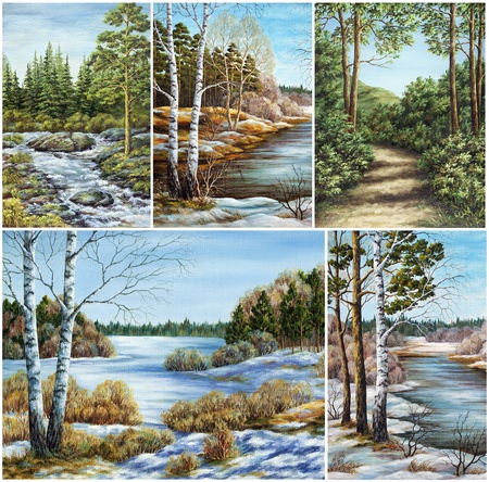 Set Siberian landscapes, Russia  Picture, hand-draw, oil paints on a canvas Stock fotó