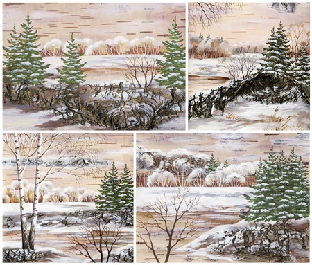 distemper: Pictures, set winter natural landscapes  Hand draw, distemper on a birch bark Stock Photo