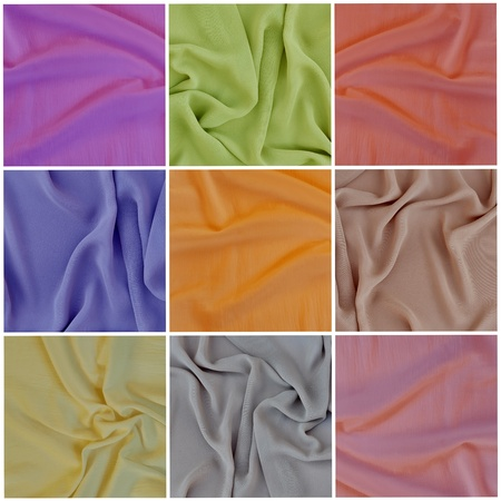 draped: Set backgrounds, texture of colored fabric draped cloth