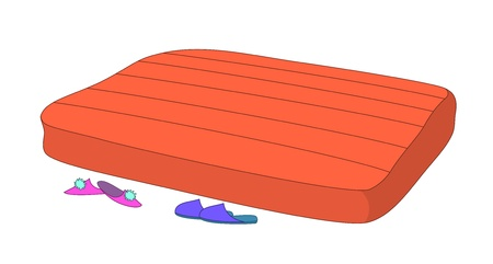 bed sheet: Empty red mattress and mans and womens slippers Illustration