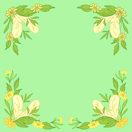 Abstract floral background  leaves, flowers and feathers on green Vector