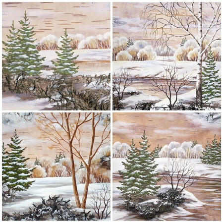 Pictures, set winter natural landscapes  Hand draw, distemper on a birch bark 版權商用圖片