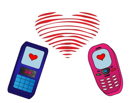 Mobile phones speak on a white background with red valentine hearts, which consists of radio waves photo