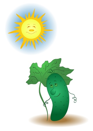Summer cartoon, cucumber hiding under an umbrella from the sun   Vector