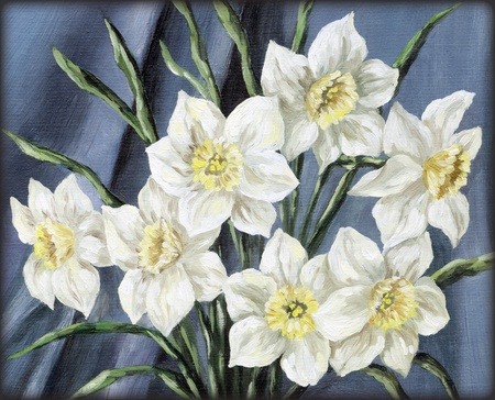 Picture, still-life, flowers narcissus bouquet  Hand draw oil paints on a canvas photo