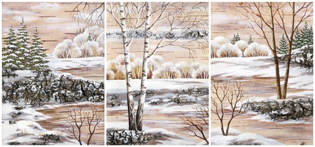 Pictures, set winter natural landscapes  Hand draw, distemper on a birch bark photo