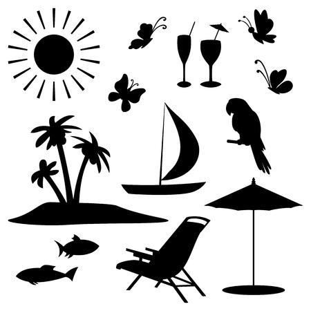 Set voorwerpen vertegenwoordigen de zomer, exotische en een strand zwarte contour op een witte achtergrond Stock Illustratie