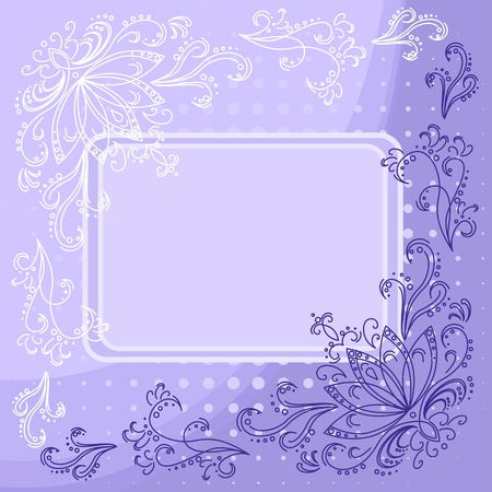 Floral violet and white background with flowers contours and frame  Vector Vector