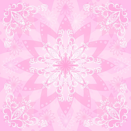 Abstract pink and white floral background, flowers silhouettes and contours  Vector Vector