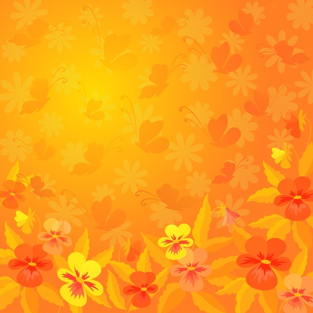 Abstract red, orange, and yellow background  pansies flowers and butterflies silhouettes  Vector Stock Vector - 13124939
