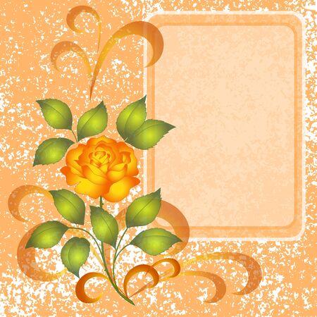 rosas amarillas: Vacaciones de fondo floral con flores rosa y placa Vector