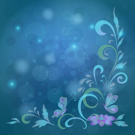 Abstract blue background with butterflies, flowers and circles  Vector contains transparencies Vector