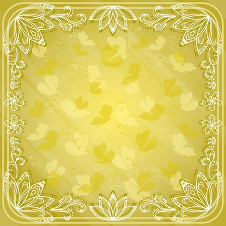 Abstract background with butterflies silhouettes and flowers contours  Vector eps10, contains transparencies Vector