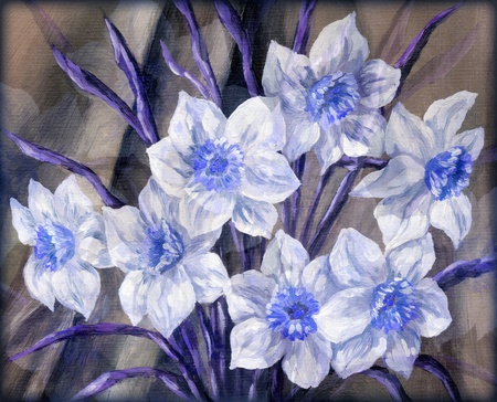 Picture, still-life, blue and white flowers bouquet  Hand draw oil paints on a canvas