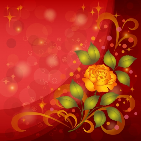 Holiday floral background with flowers rose, stars and circles  Vector eps10, contains transparencies