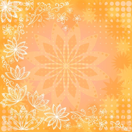 Abstract orange and yellow floral background  flowers silhouettes and white contours  Vector eps10, contains transparencies Vector