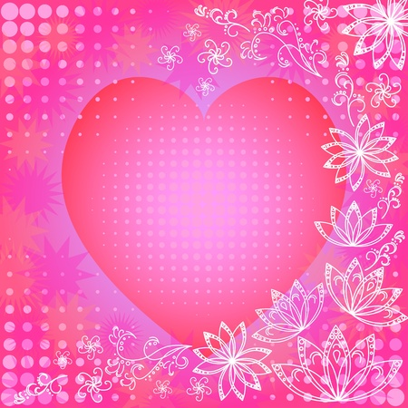 Abstract pink background with holiday valentine heart and white outline flowers Vector