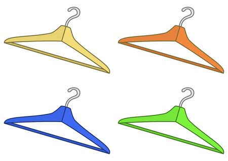 Set multi-coloured hangers for clothes, isolated on white background  Vector Vector