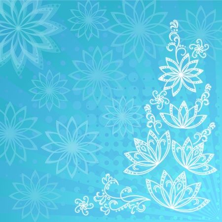 Abstract floral blue background with white flowers contours  Vector Vector