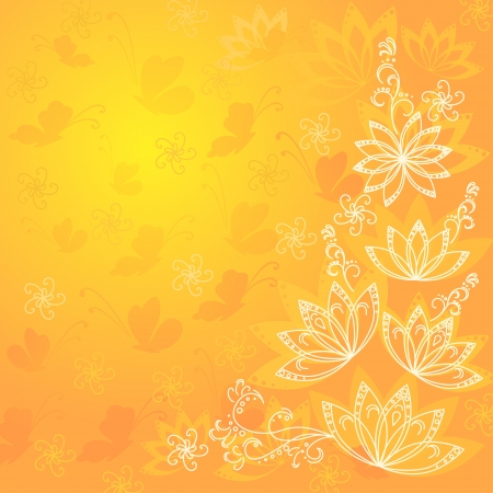 Abstract orange and yellow floral background with flowers contours and butterflies silhouettes  Vector eps10, contains transparencies Stock Vector - 13486392