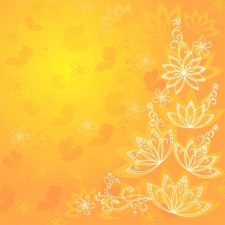 Abstract oranje en gele bloemen achtergrond met bloemen en vlinders contouren silhouetten Vector eps10, bevat transparanten