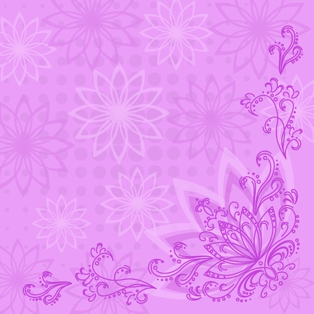 Abstract pink, lilac and white floral background  flowers silhouettes and contours  Stock Vector - 13597397