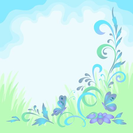 Abstract floral green and blue background with symbolical flowers and butterflies  Vector photo
