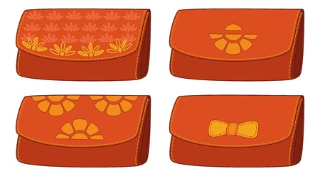 Set stylish leather wallets for money with floral pattern  illustration Vector