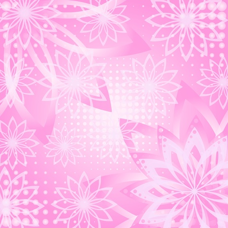 Abstract pink and white floral background, flowers silhouettes and contours contains transparencies Vector