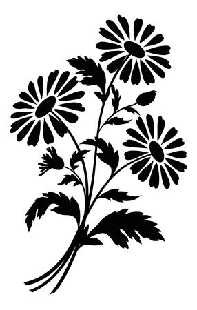 Boeket van kamille bloemen, zwarte silhouetten op een witte achtergrond
