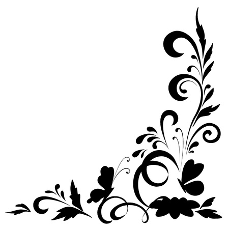 Abstract floral background with flowers and butterflies, black silhouettes on white background