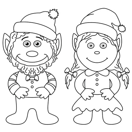 Cartoon, garden gnomes, boy and girl, black contour on white background Vector