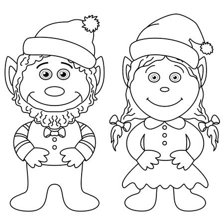 gnomes: Cartoon, garden gnomes, boy and girl, black contour on white background Illustration