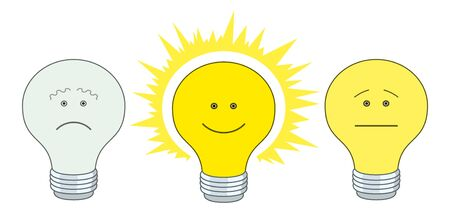 sad cartoon: Set of smilies in the form of electric bulbs - sad, indifferent and cheerful